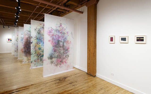 Rebuilding the Present, Installation View 1 (photo by Paal Williams, paintings and framed drawings by Cameron Harvey) at Weinberg Newton Gallery