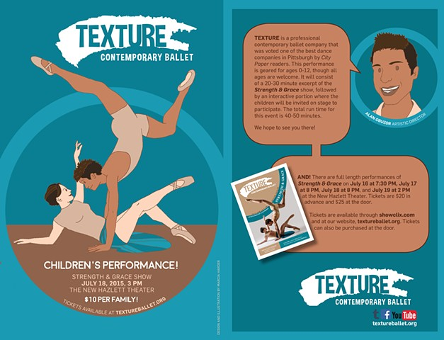 Illustration for Texture Contemporary Ballet's September 2015 children's show.