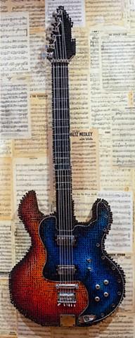 Guitar. Installation with screws