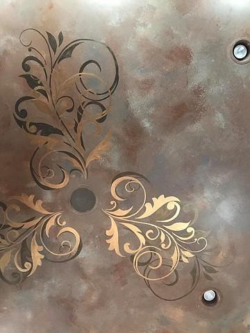 Faux Metallic Stenciled Scrolls