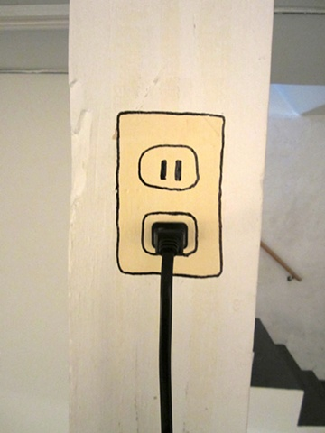 Wall socket painting and cord