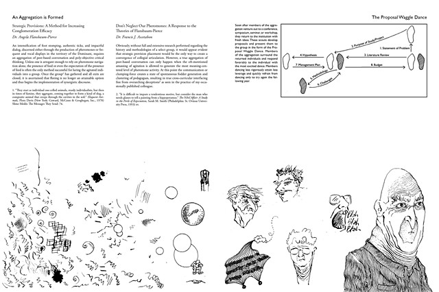 Digital layout of a spread from Dance Steps for the Beleaguered before printing