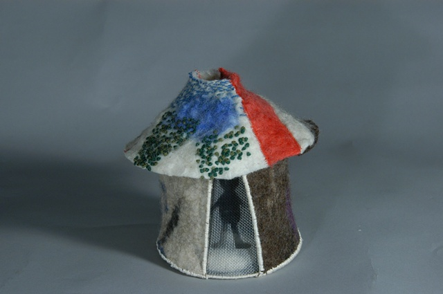 handmade felt, steel, thread