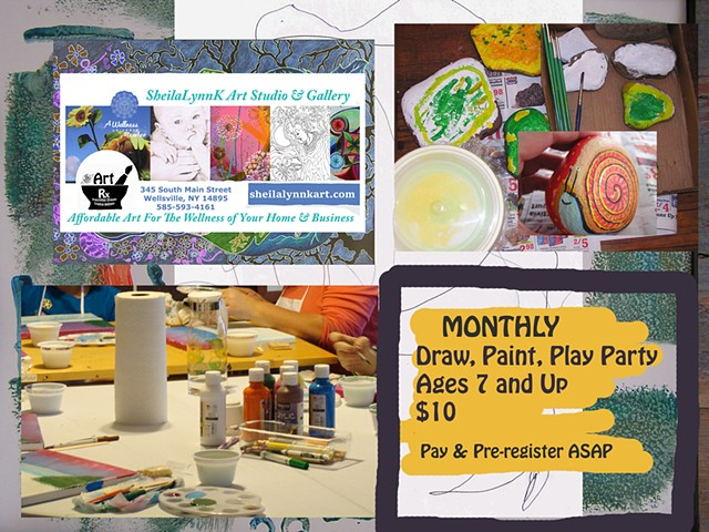 Kids Art Party Wellsville NY, Art Allegany County NY, Wellsville NY Art,