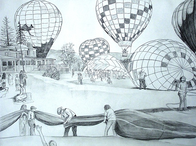 balloonists, balloon sketch, Wellsville NY