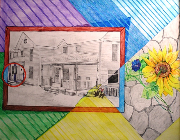 mulit-media drawing, house, home, family