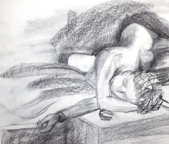 nude, figure drawing, observational drawing, sheila kalkbrenner