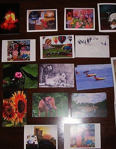 fine art post cards, sheilalynnk art studio post cards