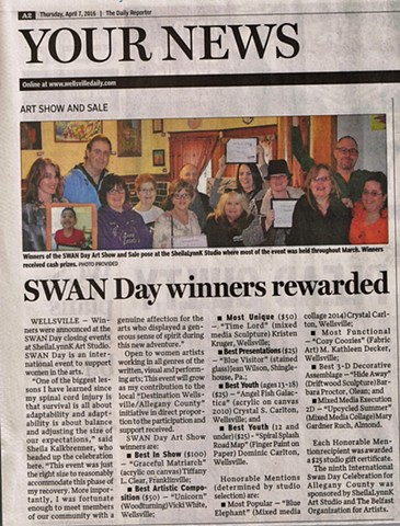 SWAN Day Allegany County NY, Samila Socic, Childrens Art Activities, Kids Art, Wellsville NY, SheilaLynnK Art Studio Events, Women In the Arts, SWAN Local, Affordable Art