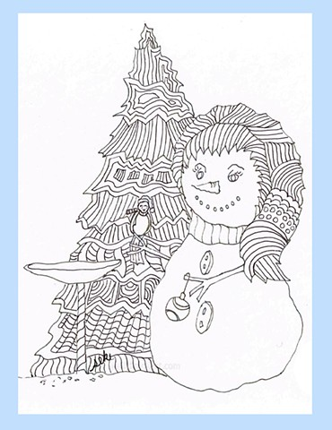 Winter Cards, Coloring Pages