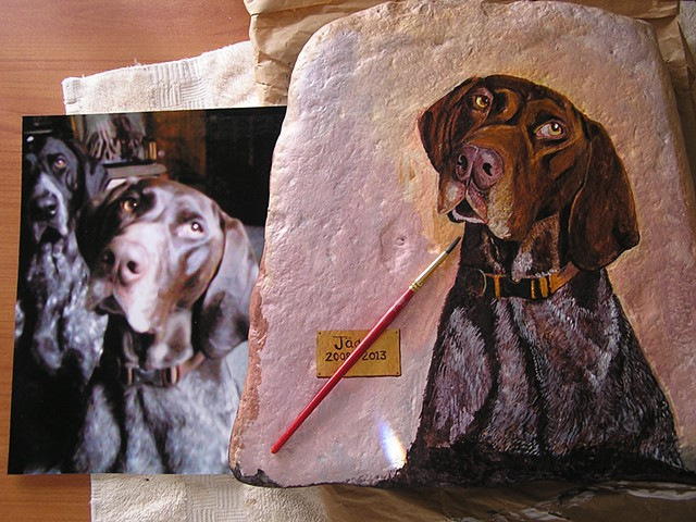 hand-painted pet memorial stone, pet portraits