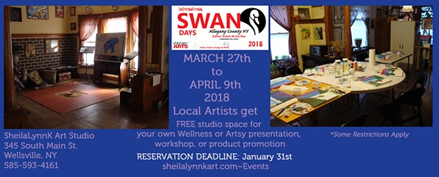 Art space, Wellsville NY, SWAN Day, Women Arts,