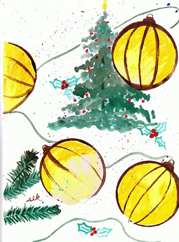 Holiday Cards, Winter Cards, fine art christmas cards, hand painted christmas card