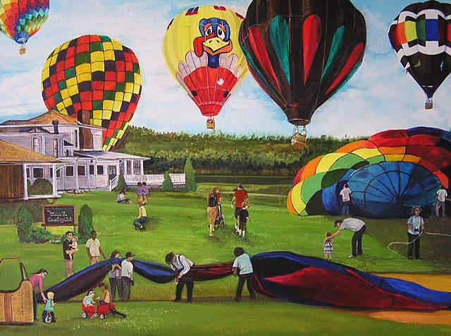 balloon rally, balloonists, hot air balloons, summer family, fine art, sheila kalkbrenner