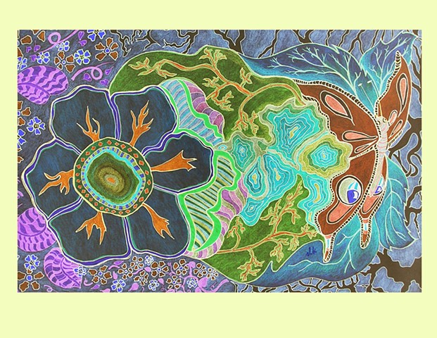 Sacred Butterfly, Butterfly Art, Moth Art, Midnight Art, Moon glow Art