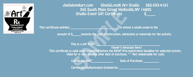 Paint Party Gift Certificate, Event Gift Certificate