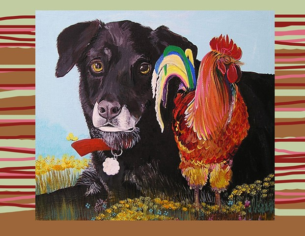 Dog Art, Chicken Art, Black Lab Art