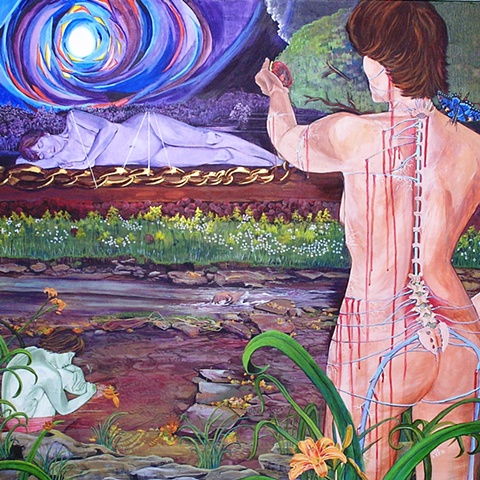 conceptual expressionism,composite paintings,sheila kalkbrenner,arachnoiditis, pain management, composite landscape painting