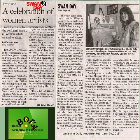 Women Arts, Support Women Artists Now, SWAN Day, Wellsville Daily Reporter, Allegany County NY