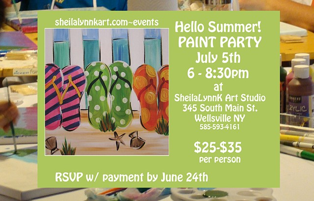 Paint Party, Summer Painting Activities, Wellsville NY, Adult Art Party