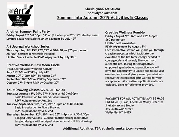 Summer Into Autumn Studio Schedule