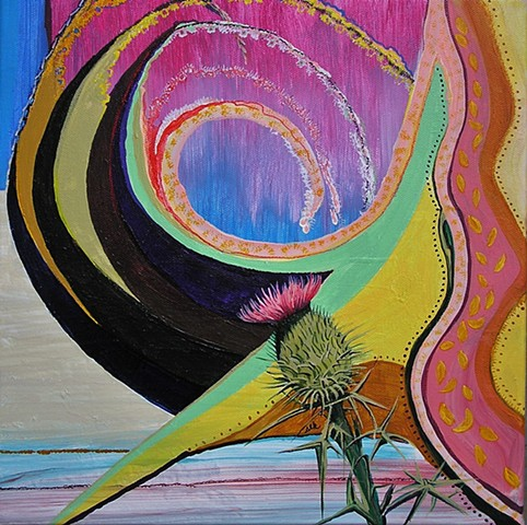 bull Thistle, plant paintings, bull thistle art