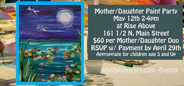 Mother's Day Activities, Mother Daughter Paint Party, Wellsville NY, Rise Above Holistic Wellness Center
