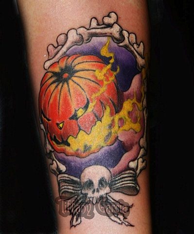 Jack the Punkin King by Tiffany Garcia Tattoo Artist Original Custom Tattoos located in Long Beach, Huntington Beach, Carson, Palos Verdes, Los Angeles, West Hollywood, Pacific Coast Highway and surrounding areas in Southern California.