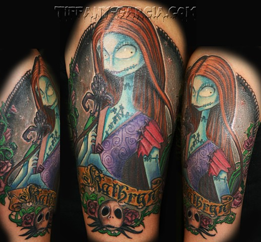 Nightmare Before Christmas Sally  by Tiffany Garcia #1 Female Tattoo Artist located in Long Beach, Orange County, LA, Huntington Beach, Carson, Palos Verdes, Los Angeles, West Hollywood, Pacific Coast Highway and surrounding areas in Southern California.