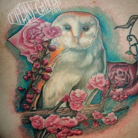 Owl by female tattoo artist Tiffany Garcia