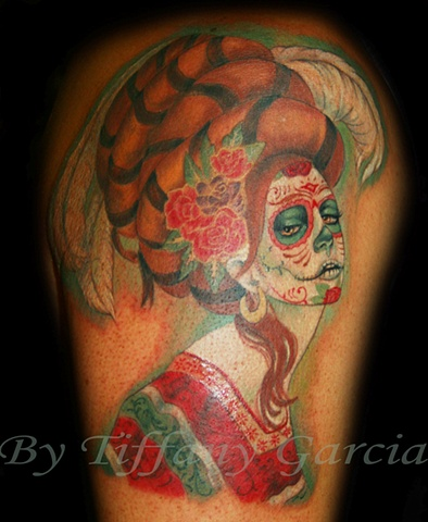 Day of the Dead Sylvia Ji  by Tiffany Garcia Tattoo Artist Original Custom Tattoos located in Long Beach, Huntington Beach, Carson, Palos Verdes, Los Angeles, West Hollywood, Pacific Coast Highway and surrounding areas in Southern California.