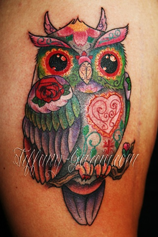 Phanie's Mexican Owl  by Tiffany Garcia Female Tattoo Artist located in Long Beach, Orange County, LA, Huntington Beach, Carson, Palos Verdes, Los Angeles, West Hollywood, Pacific Coast Highway and surrounding areas in Southern California.