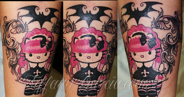 Gothic Hello Kitty  by Tiffany Garcia #1 Female Tattoo Artist located in Long Beach, Orange County, LA, Huntington Beach, Carson, Palos Verdes, Los Angeles, West Hollywood, Pacific Coast Highway and surrounding areas in Southern California.