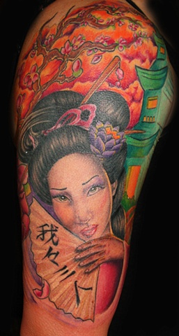 Colorful Geisha Portrait by Tiffany Garcia Tattoo Artist Original Custom Tattoos located in Long Beach, Huntington Beach, Carson, Palos Verdes, Los Angeles, West Hollywood, Pacific Coast Highway and surrounding areas in Southern California.