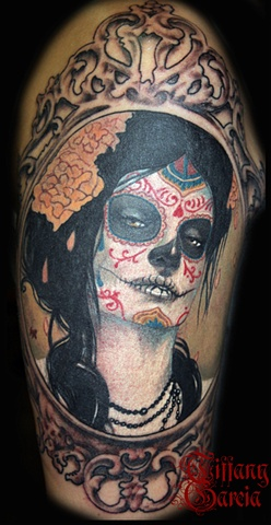 Day of the Dead Sylvia Ji Beauty by Tiffany Garcia Tattoo Artist located in Long Beach, Huntington Beach, Carson, Palos Verdes, Los Angeles, West Hollywood, Pacific Coast Highway and surrounding areas in Southern California. Original Custom Tattoos