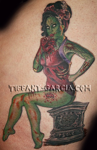 Undead Pinup  by Tiffany Garcia Female Tattoo Artist located in Long Beach, Orange County, LA, Huntington Beach, Carson, Palos Verdes, Los Angeles, West Hollywood, Pacific Coast Highway and surrounding areas in Southern California.