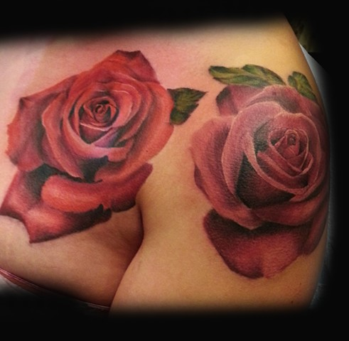 colorful realistic Roses I did at the Boston tattoo Convention in 2014 by Tiffany Garcia