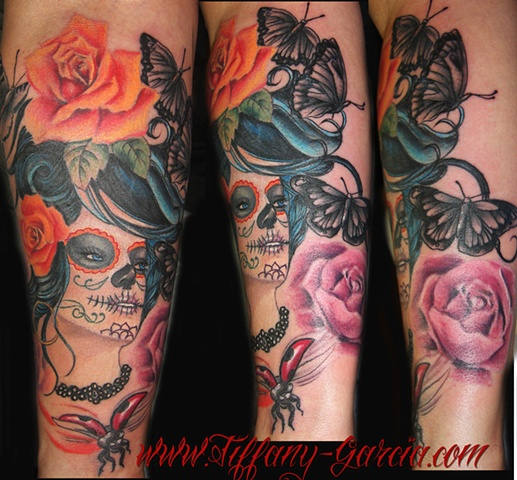day of the dead type girl with roses