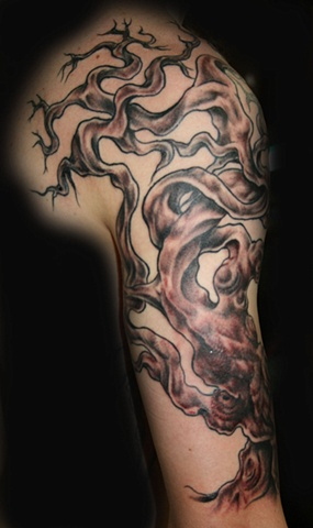 Gnarled Tree Black & White by Tiffany Garcia Tattoo Artist located in Long Beach, Huntington Beach, Carson, Palos Verdes, Los Angeles, West Hollywood, Pacific Coast Highway and surrounding areas in Southern California. Original Custom Tattoos