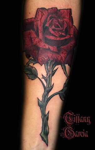 Red Stone Rose by Tiffany Garcia Tattoo Artist located in Long Beach, Huntington Beach, Carson, Palos Verdes, Los Angeles, West Hollywood, Pacific Coast Highway and surrounding areas in Southern California. Original Custom Tattoos