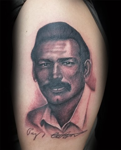 Hansom father portrait done by female tattoo artist Tiffany Garcia
