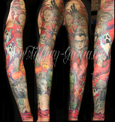 Monster Sleeve  by Tiffany Garcia Female Tattoo Artist located in Long Beach, Orange County, LA, Huntington Beach, Carson, Palos Verdes, Los Angeles, West Hollywood, Pacific Coast Highway and surrounding areas in Southern California.