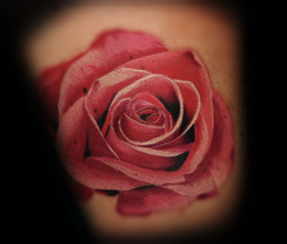 Colorful Rose by Tiffany Garcia #1 Female Tattoo Artist located in Long Beach, Orange County, LA, Huntington Beach, Carson, Palos Verdes, Los Angeles, West Hollywood, Pacific Coast Highway and surrounding areas in Southern California.