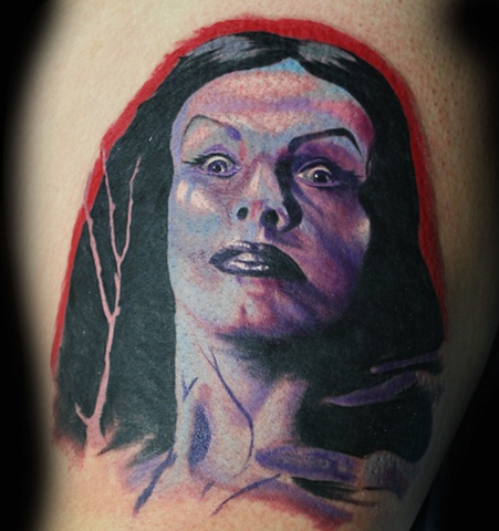 Vampira by Tiffany Garcia Tattoo Artist Original Custom Tattoos located in Long Beach, Huntington Beach, Carson, Palos Verdes, Los Angeles, West Hollywood, Pacific Coast Highway and surrounding areas in Southern California.