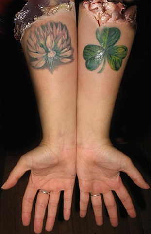 Flower & Clover by Tiffany Garcia Tattoo Artist Custom Tattoos located in Long Beach, Huntington Beach, Carson, Palos Verdes, Los Angeles, West Hollywood, Pacific Coast Highway and surrounding areas in Southern California.