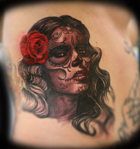 Ribcage Piece-Day of the Dead Sylvia Ji by Tiffany Garcia #1 Female Tattoo Artist located in Long Beach, Orange County, LA, Huntington Beach, Carson, Palos Verdes, Los Angeles, West Hollywood, Pacific Coast Highway and surrounding areas in Southern Calif