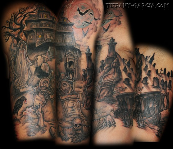 Haunted House and Graveyard  by Tiffany Garcia Top Female Tattoo Artist located in Long Beach, Orange County, LA, Huntington Beach, Carson, Palos Verdes, Los Angeles, West Hollywood, Pacific Coast Highway and surrounding areas in Southern California.