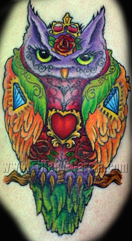 Colorful Owl  by Tiffany Garcia Female Tattoo Artist located in Long Beach, Orange County, LA, Huntington Beach, Carson, Palos Verdes, Los Angeles, West Hollywood, Pacific Coast Highway and surrounding areas in Southern California.