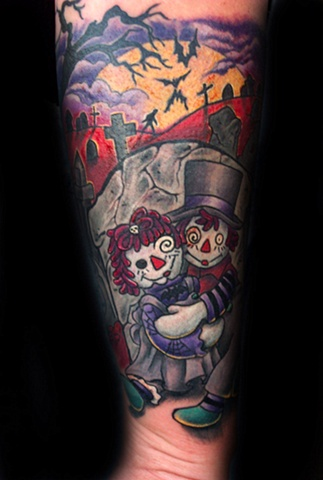Gothic Raggedy Anne & Andy  by Tiffany Garcia Tattoo Artist  located in Long Beach, Huntington Beach, Carson, Palos Verdes, Los Angeles, West Hollywood, Pacific Coast Highway and surrounding areas in Southern California. Custom Tattoos
