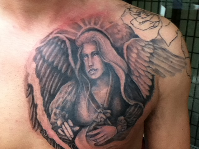 angel,chest,tattoo
